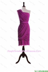Custom Made Ruching and Belt Short Graduation Dresses in Fuchsia