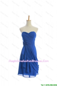 Customize Hand Made Flowers and Ruching Short Graduation Dresses in Royal Blue