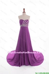 Fashionable Beaded Court Train Graduation Dresses in Eggplant Purple