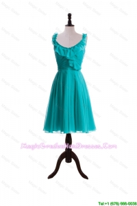 2015 Summer A Line Scoop Graduation Dresses with Paillette in Turquoise