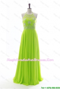Brand New Halter Top Spring Green Long Graduation Dresses with Beading