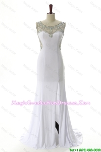 New Style 2016 Empire White Graduation Dresses with Beading and High Slit