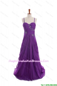 Cheap Appliques and Beading Eggplant Purple Graduation Dresses with Sweep Train