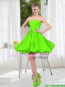 2016 Summer A Line Sweetheart Graduation Dresses in Spring Green