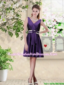 Discount V Neck Zipper Up Graduation Dresses in Dark Purple