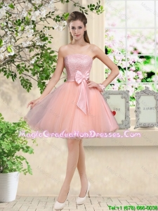 Popular Strapless Mini Length Graduation Dresses with Appliques and Bowknot