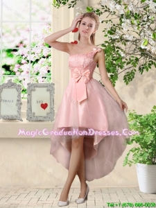 Romantic One Shoulder Laced and Bowknot Graduation Dresses in Pink