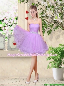 Simple A Line Strapless Lavender Graduation Dresses with Belt