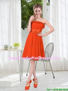 Summer A Line Strapless Bowknot Graduation Dress in Rust Red