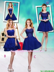 Wonderful Mini Length Royal Blue Graduation Dresses with Appliques
