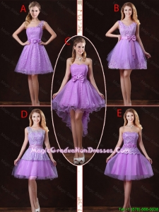 2016 Popular Laced Lilac Graduation Dresses with A Line