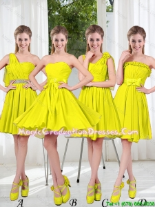 2016 Summer Simple One Shoulder Graduation Dresses in Yellow Green