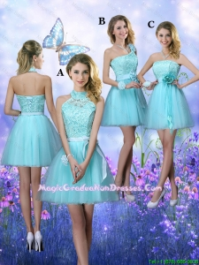Beautiful A Line Aqua Blue Graduation Dresses with Appliques