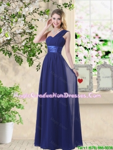 Cheap One Shoulder Floor Length Graduation Dresses in Navy Blue