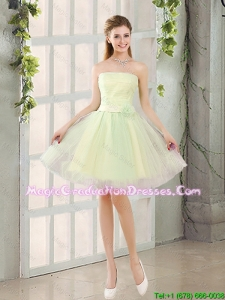 Custom Made A Line Strapless Tulle Graduation Dresses with Belt