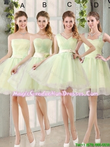 Custom Made Mini Length Graduation Dresses in Yellow Green