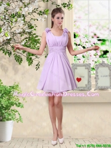 Suitable A Line Straps Graduation Dresses with Hand Made Flowers