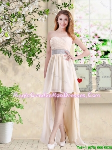 Affordable High Low Sweetheart Graduation Dresses in Champagne
