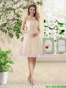 Beautiful Short Champagne Graduation Dresses with One Shoulder
