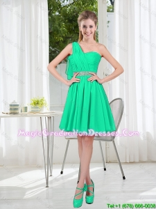 Custom Made A Line One Shoulder Beading Graduation Dresses