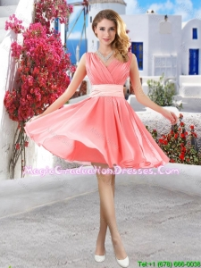 Perfect Short Belt and Ruched Graduation Dresses in Watermelon