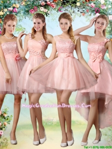 Popular A Line Pink Graduation Dresses with Lace and Appliques