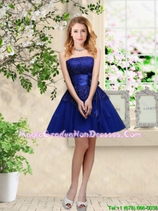 Popular Hand Made Flowers Royal Blue Graduation Dresses with Appliques