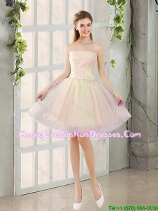 2016 Fall Sexy A Line Strapless Short Graduation Dresses with Belt