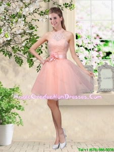 Artistic Halter Top Appliques and Laced Graduation Dresses in Baby Pink