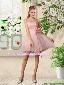 Beautiful Strapless Laced Graduation Dresses with Hand Made Flowers