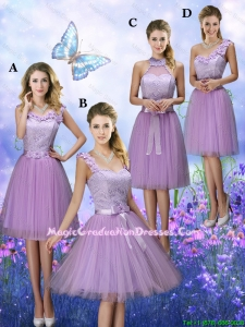 New Style Appliques Tulle Graduation Dresses with Knee Length