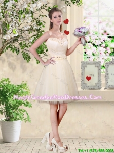 Popular A Line Champagne Graduation Dresses with Appliques and Belt