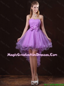 Pretty Strapless Bowknot Graduation Dresses with High Low