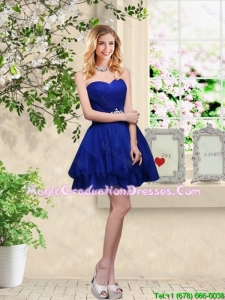Simple Sweetheart Royal Blue Graduation Dresses with Belt