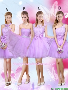 Sophisticated A Line Lavender Graduation Dresses with Lace and Bowknot