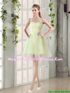 2016 Fall Lovely A Line Straps Ruching Graduation Dresses with Bowknot