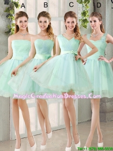 2016 Spring A Line Ruching Graduation Dresses with Belt in Apple Green