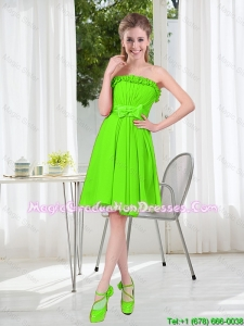 A Line Strapless Bowknot Custom Made Graduation Dresses in Spring Green