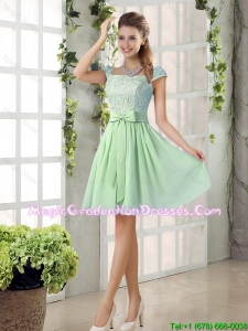 Affordable Square Lace Graduation Dresses with Bowknot