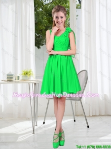Elegant A Line Straps Green Graduation Dresses with Hand Made Flowers