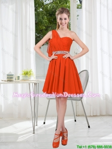 Rust Red One Shoulder Graduation Dresses with Beading and Belt