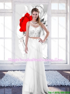 2015 New Style Empire Scoop White Graduation Dresses with Brush Train