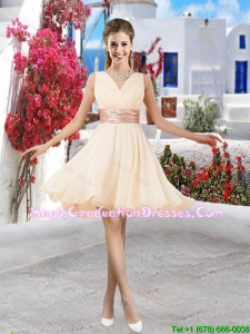 Affordable Champagne V Neck Graduation Dresses with Belt and Ruching