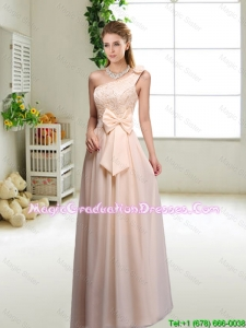 Discount One Shoulder Graduation Dresses in Champagne