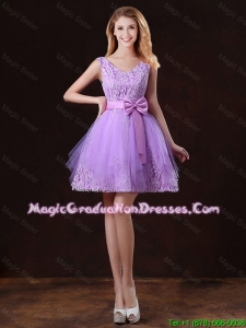 Discount V Neck Tulle Graduation Dresses with Bowknot