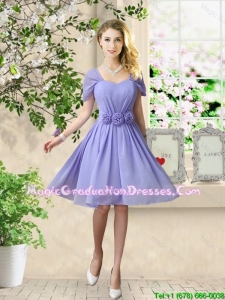 Elegant Hand Made Flowers Graduation Dresses with Short Sleeves
