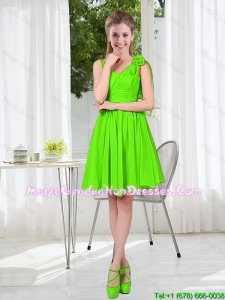 A Line Hand Made Flowers Graduation Dresses in Spring Green