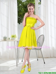 A Line Strapless Bowknot Custom Made Graduation Dresses for Party