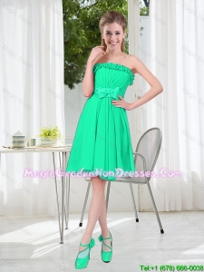 A Line Strapless Turquoise Graduation Dresses for Spring