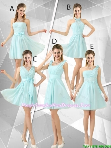 Beautiful A Line Ruched Graduation Dresses in Light Blue